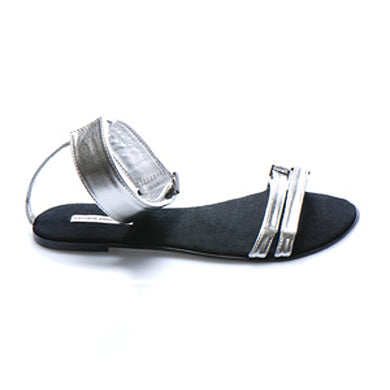 3012 LEATHER FLAT SANDALS, SILVER