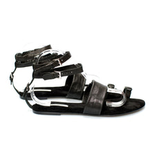 3013 LEATHER FLAT SANDALS, BLACK