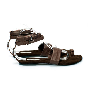 3013 LEATHER FLAT SANDALS, BROWN