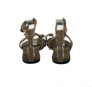 3013 LEATHER FLAT SANDALS, LIGHT KHAKI