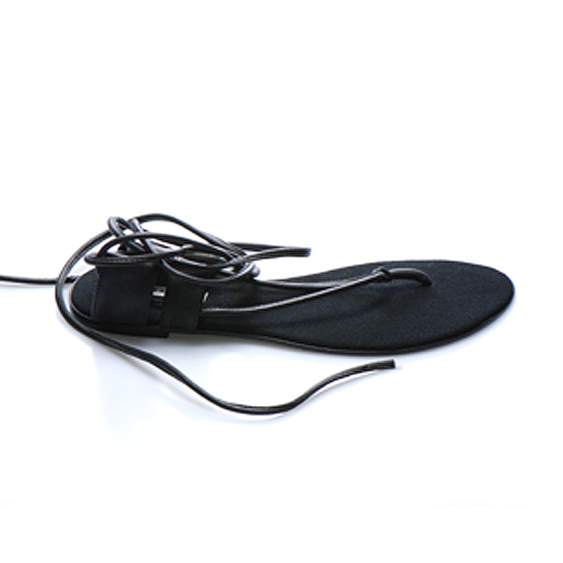 3014 LEATHER FLAT SANDALS, BLACK