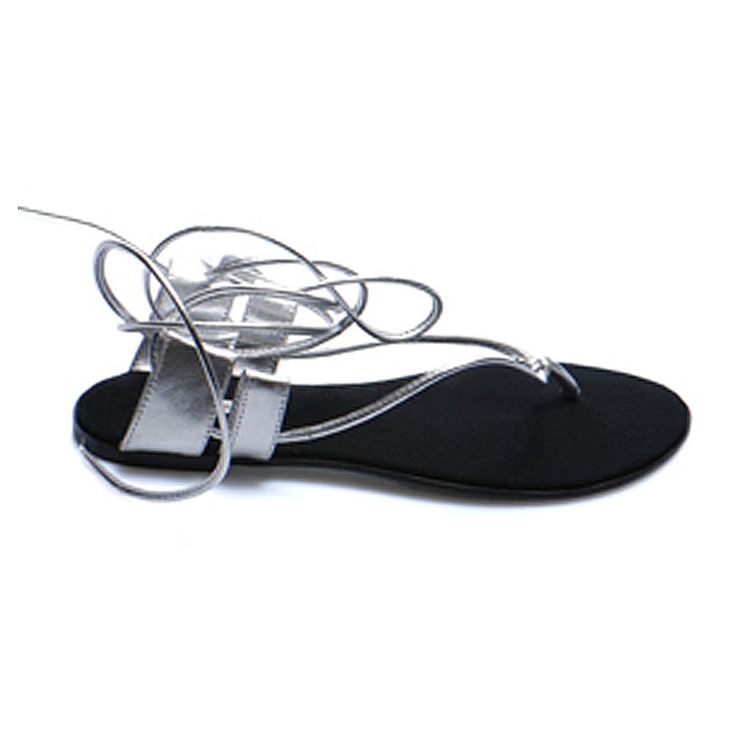 3014 LEATHER FLAT SANDALS, SILVER