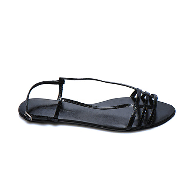 3015 PATENT LEATHER FLAT SANDALS, BLACK