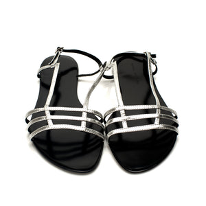 3015 LEATHER FLAT SANDALS, SILVER
