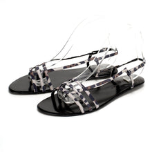 3015 LEOPARD PRINT LEATHER FLAT SANDALS, WHITE