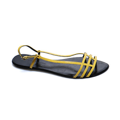 3015 PATENT LEATHER FLAT SANDALS, YELLOW