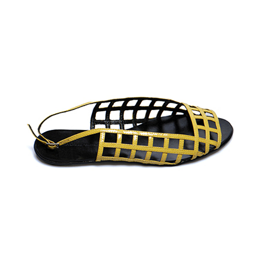 3016 PATENT LEATHER FLAT SANDALS, YELLOW