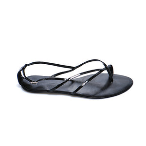 3018 PATENT LEATHER FLAT SANDALS, BLACK
