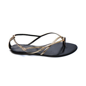 3018 METALLIC LEATHER FLAT SANDALS, GOLD
