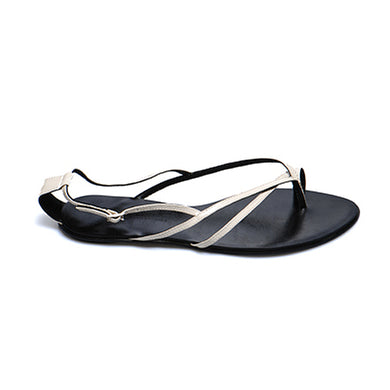 3018 PATENT LEATHER FLAT SANDALS, STONE