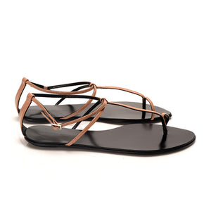 3019 PATENT LEATHER FLAT SANDALS, PINK NUDE