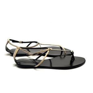 3019 PATENT LEATHER FLAT SANDALS, BEIGE