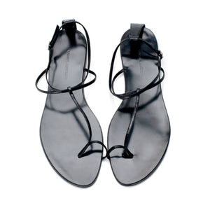 3019 LEATHER FLAT SANDALS, BLACK