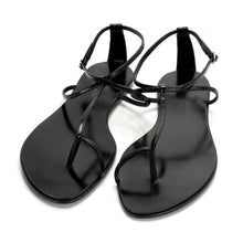 3019 PATENT LEATHER FLAT SANDALS, CHARCOAL