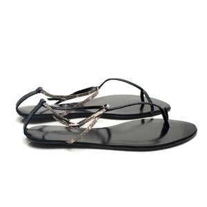 3019 SNAKE SKIN FLAT SANDALS, NAVY/WHITE MULTI