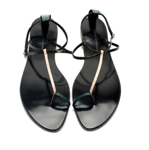 3019 SNAKE SKIN FLAT SANDALS, BLACK/PEACH/GREEN