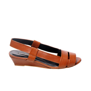 3031 LEATHER SLINGBACKS, OAK