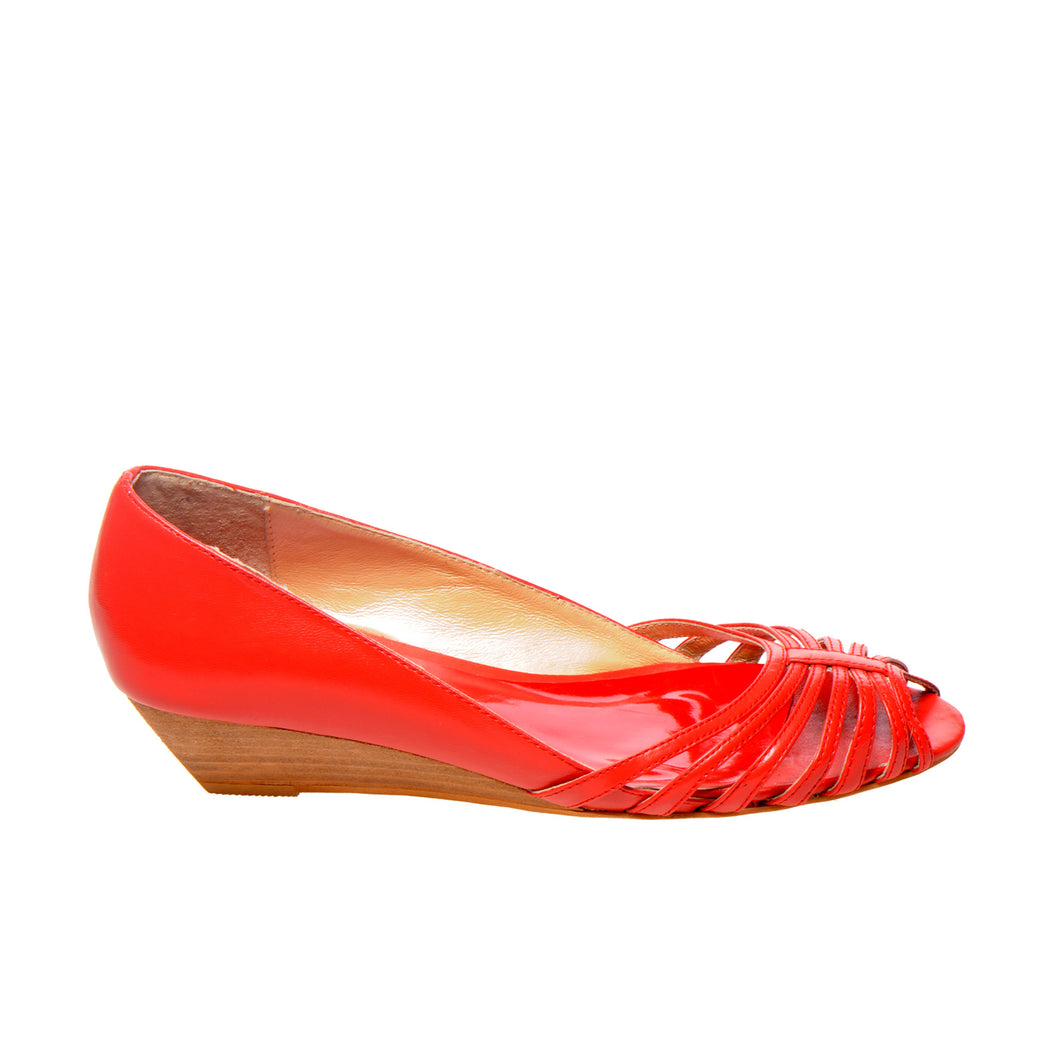3033 LEATHER PUMPS, RED