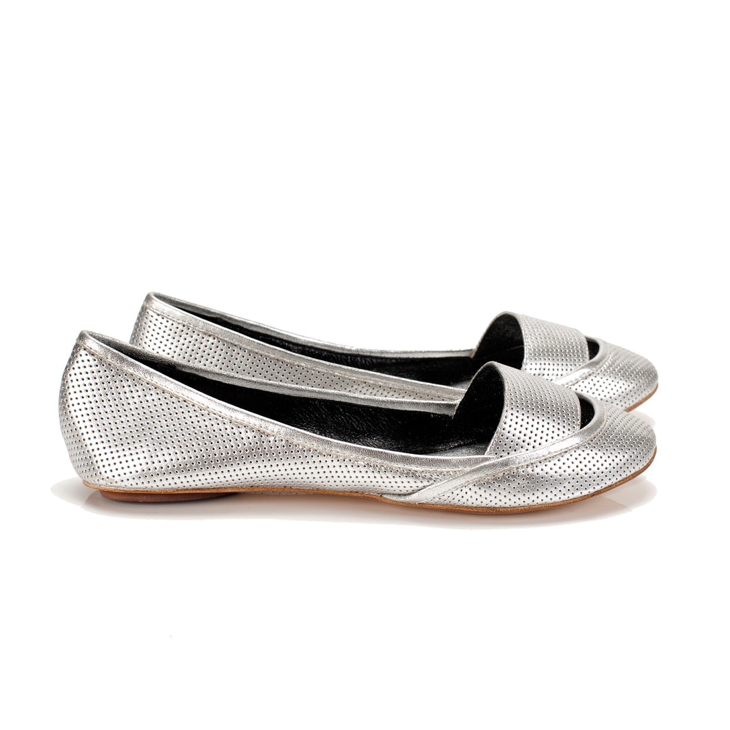 3041 LEATHER FLAT PUMPS, SILVER