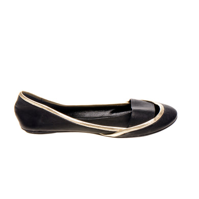 3041 LEATHER FLAT PUMPS, BLACK/GOLD