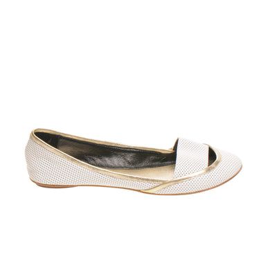 3041 LEATHER FLAT PUMPS, WHITE/GOLD