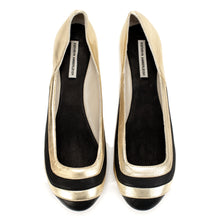 3042 LEATHER FLAT PUMPS, BLACK/GOLD