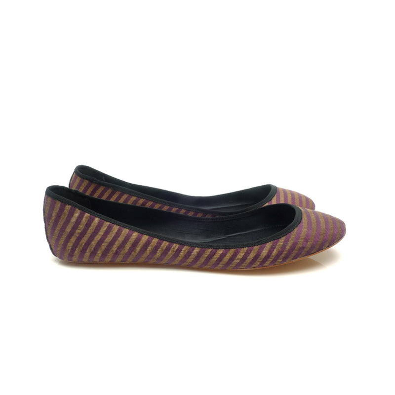 3060B STRIPED SILK FLATS, PURPLE MULTI