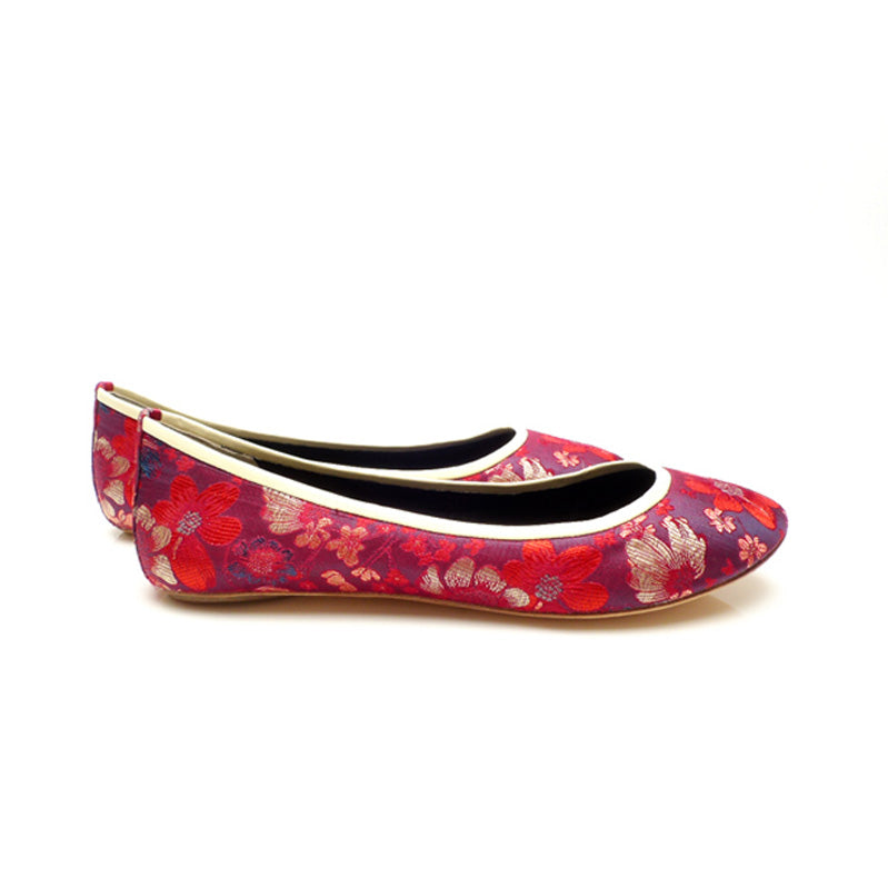 3060C FLORAL JACQUARD SILK FLATS, RED MULTI