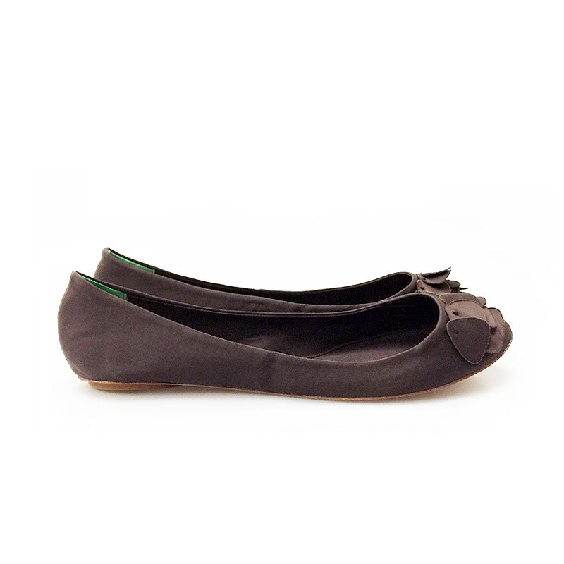 3063 PETAL SILK FLATS, BROWN