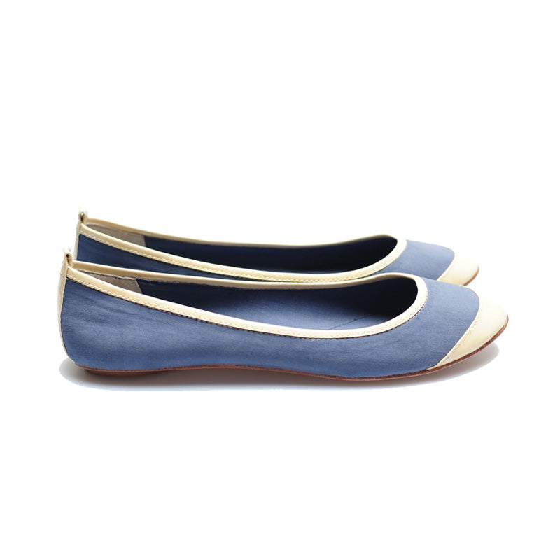 3065 SILK AND PATENT LEATHER FLATS, BLUE/BONE