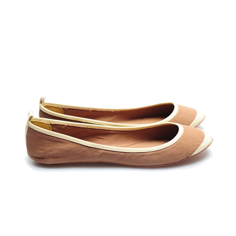 3065 SILK AND PATENT LEATHER FLATS, TAN/BONE
