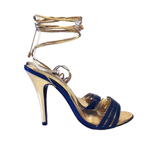 3071 PATENT LEATHER HEELS, ROYAL BLUE/GOLD