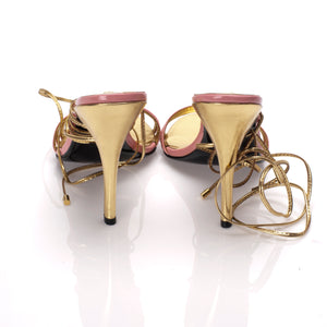 3071 PATENT LEATHER HEELS, PINK/GOLD
