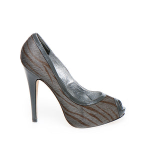 3080A PRINTED HAIR LEATHER OPEN TOE HEELS, GREY ZEBRA/GREY