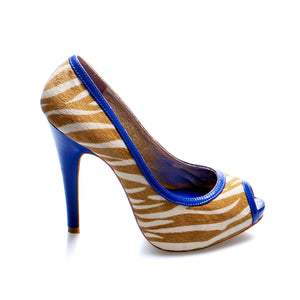 3080A PRINTED HAIR LEATHER OPEN TOE HEELS, YELLOW ZEBRA/MARINE