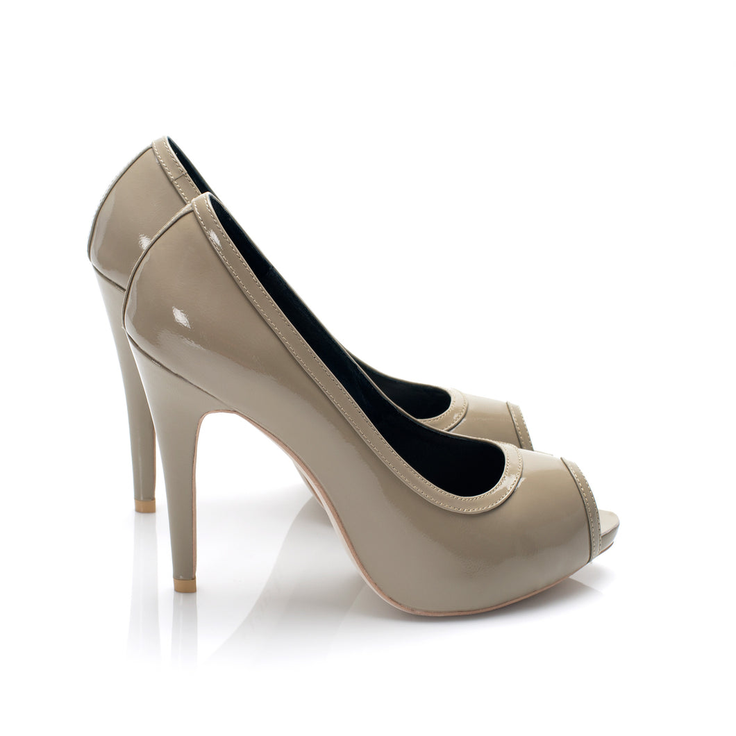 3080B PATENT LEATHER OPEN TOE HEELS, OLIVE