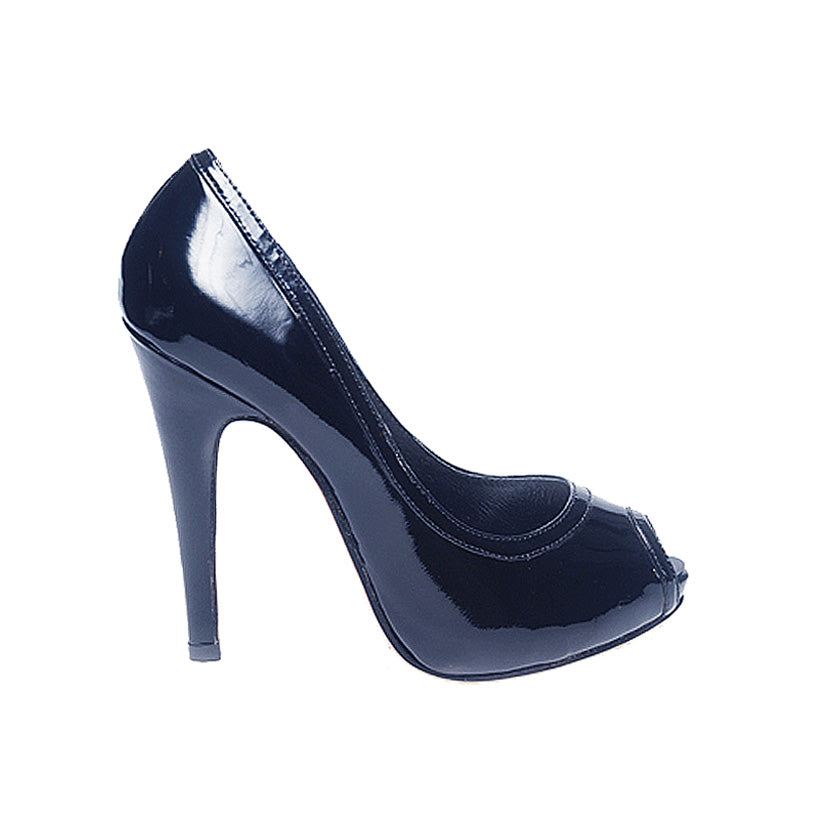 3080B PATENT LEATHER OPEN TOE HEELS, NAVY