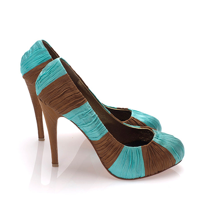 3082 SILK STILETTO PUMPS, MINT/COCOA