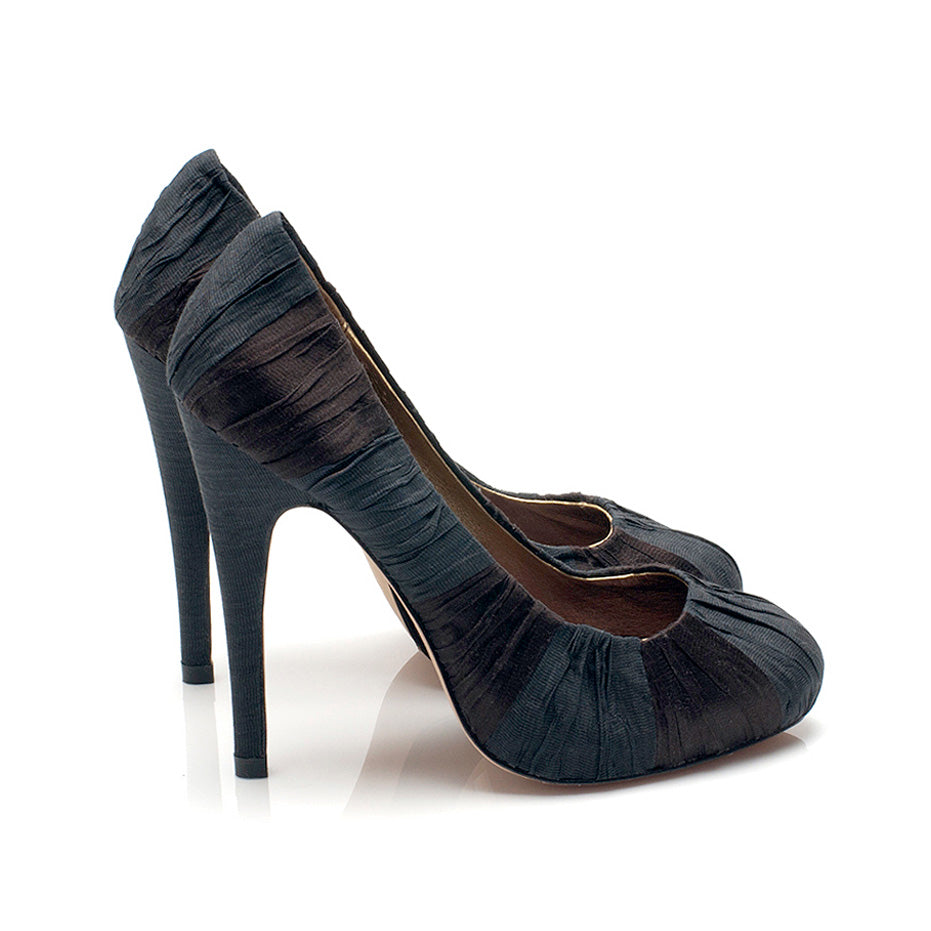 3082 SILK STILETTO PUMPS, BLACK/CHOCOLATE
