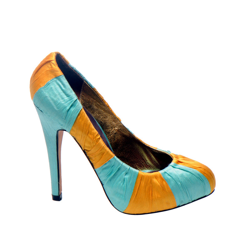 3082 SILK STILETTO PUMPS, ORANGE/MINT