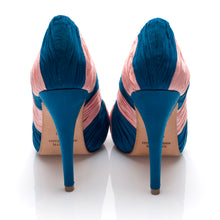 3082 SILK STILETTO PUMPS, BLUE/PINK