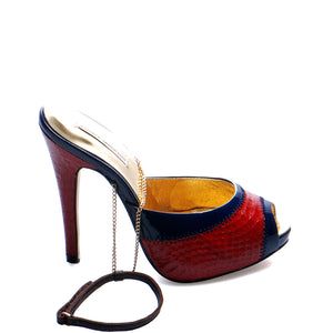 3083B SNAKE SKIN STILETTO HEELS, RED/BLUE