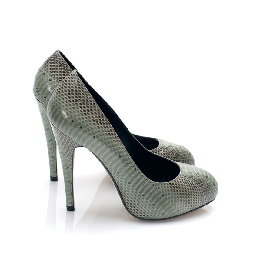 3084 SNAKE SKIN STILETTO PUMPS, DARK MOSS