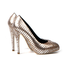 3084 SNAKE SKIN STILETTO PUMPS, SILVER