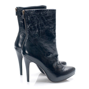 3086 LEATHER STILETTO BOOTS, BLACK