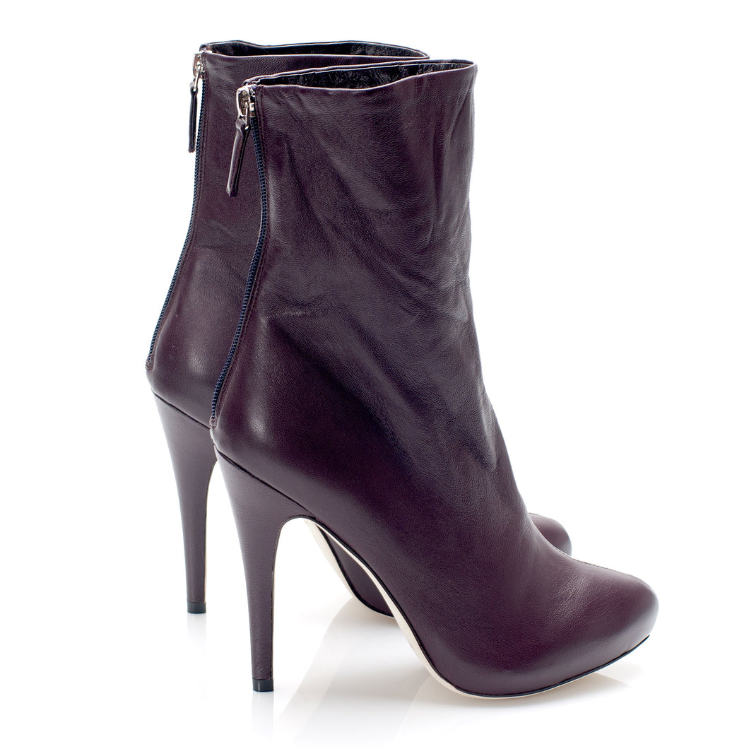 3086 LEATHER STILETTO BOOTS, PLUM