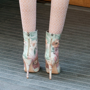 3086 FLORAL PRINT LEATHER BOOTS, PINK/GREEN MULTI