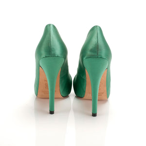 3088 SILK STILETTO PUMPS, EMERALD