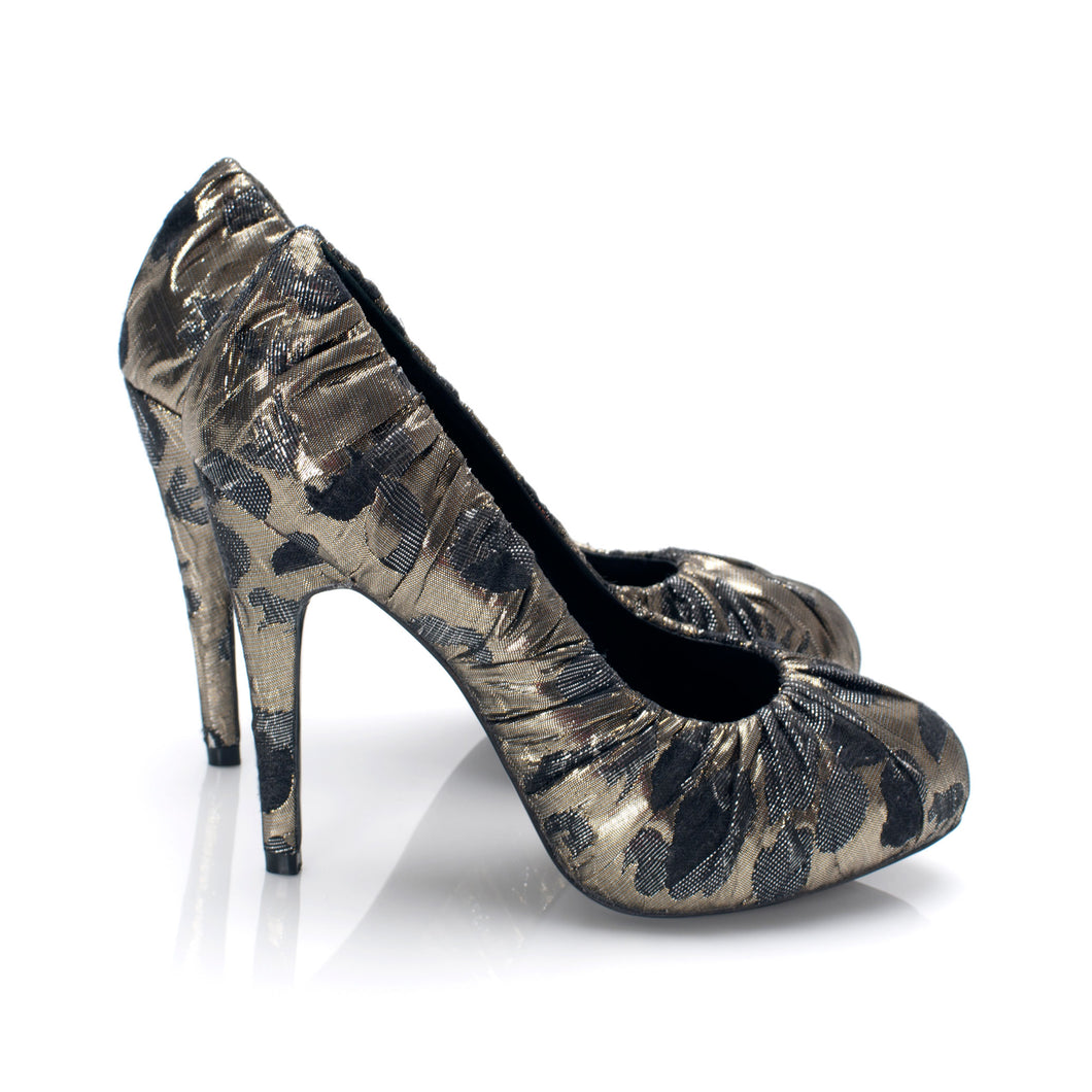 3089 JACQUARD STILETTO PUMPS, LIGHT GOLD MULTI