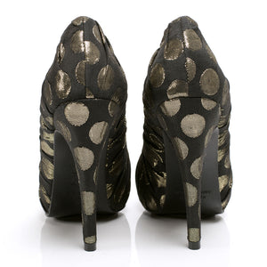 3089 JACQUARD STILETTO PUMPS, BLACK/GOLD